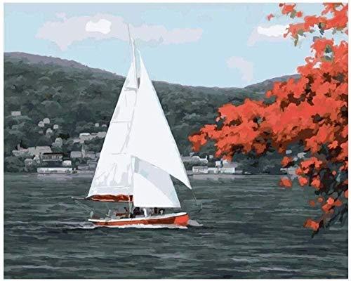 LKAZLL Kit de pintura al óleo por número para adultos y niños principiantes sobre lienzo acrílico pigmento pintura Set vela barco 40,6 x 50,8 cm