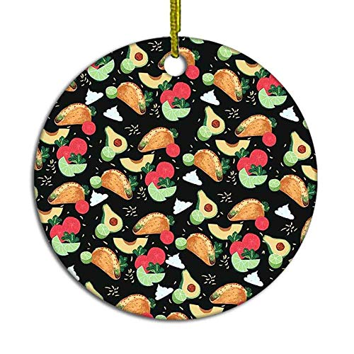 MAK060KFT Christmas Tree Ornament,Pizza Avocado Summer Mexico Ceramic Ornament,Holiday Ornament Friends Gift,Ceramic Holiday Decoration,2.8in