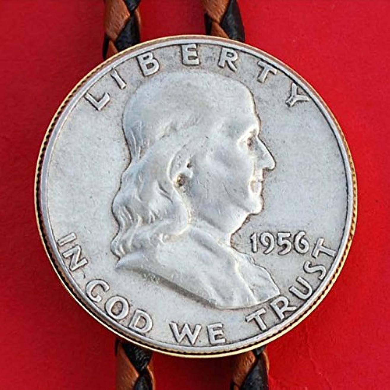 US 1956 Franklin Half Dollar 90% Silver Coin Simple Slide 36