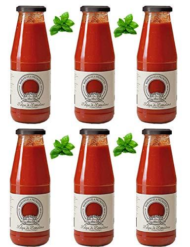 Mariangela Prunotto - Una Delizia Albese - Frutticultori in Alba Dal 1863 (Ma7Jq) Azienda Agricola, N. 6 Bottiglie Passata di Pomodoro con Foglia di Basilico da 690 G