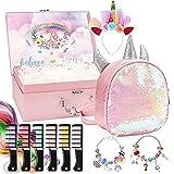 Unicorn Gift Set in Mystery Box for Girls –Pink Glitter Unicorn Bag, DIY Charm Bracelet Making Kit, Temporary Bright Hair Chalk, Glamorous Headband, Gift for Teen and Preteen Girls(Pink Unicorn Bag)