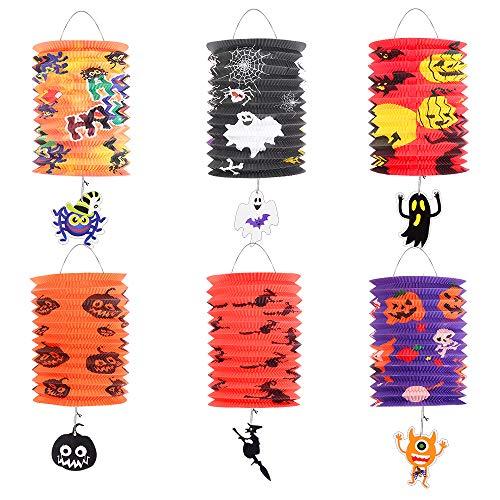 Bluelves Halloween Carta Lanterne Decorazione,Lanterne di Carta Appende Pieghevoli per Halloween,Fantasma Ragno Strega Zucca Mostro per Martino Festa Ragazza Ragazzo Bambini
