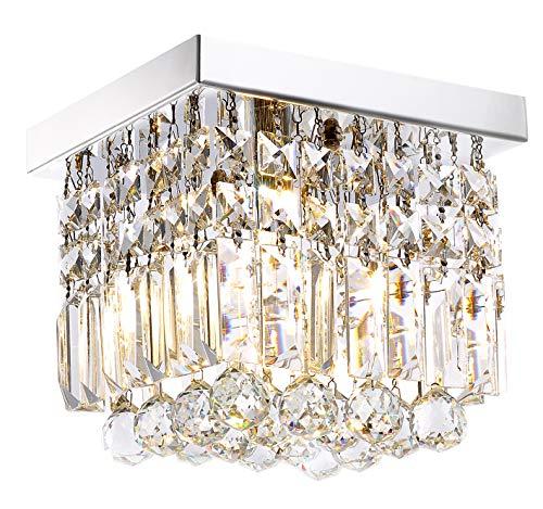Moooni Mini Modern Square Crystal Flush Mount 1-Light Ceiling Light Fixture