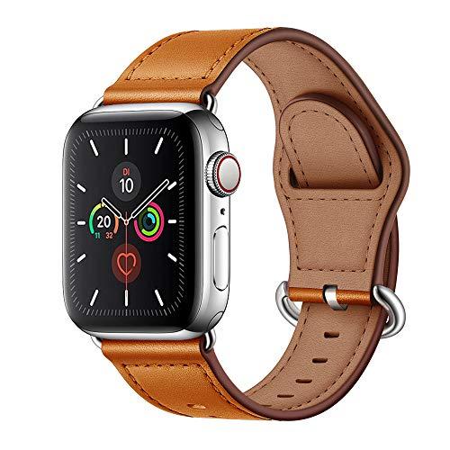 Arktis Armband [echtes Leder] kompatibel mit Apple Watch (Series 1, Series 2, Series 3 mit 42 mm) (Series 4, Series 5 mit 44 mm) Lederarmband mit Edelstahl Dornschließe und Adapter - Cognac Braun