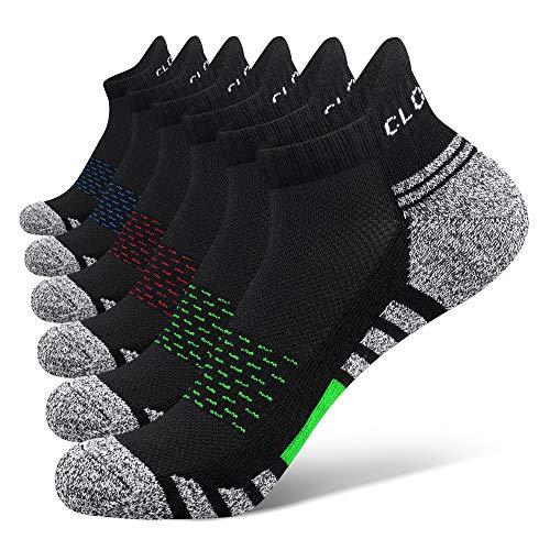Closemate 6 Paar Sneaker Socken Herren Damen Gepolsterte Laufsocken Baumwolle Atmungsaktiv Sportsocken für Fitness im Freien (2Rot2Blau2Grün, 44-48)