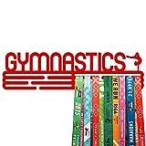 United Medals GYMNASTICS - Espositore per medaglie sportive, in acciaio verniciato a polvere rosso brillante (3 barre da appendere fino a 48 medaglie) | Cornice per montaggio a parete