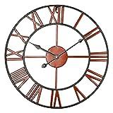 ENCOFT Reloj de Pared Decorativo Vintage Reloj Cologado con Mecanismo Silencioso Decoración para Habitación Dormitorio Oficina Bar (Cobre, 40cm)