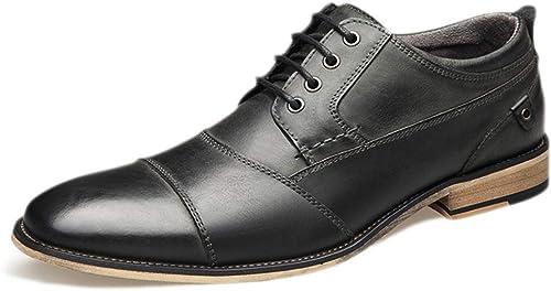 GSIRUI Chaussures en Cuir Noires pour Hommes Hommes avec des Chaussures habillées Classiques des Chaussures Tout-Aller pour Hommes
