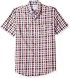 Amazon Essentials Men's Slim-Fit Short-Sleeve Two-Pocket Twill Shirt, Navy/red Check, Medium