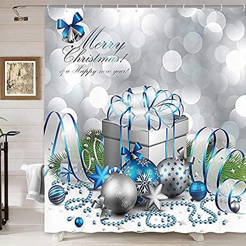 DYNH Urlaubs-Duschvorhang, Frohe Weihnachten, silberne & blaue Weihnachtskugel & Geschenk-Box für Silvester-Badvorhänge, Stoff-Duschvorhang, Badezimmerzubehör, 12 Haken, 174 x 178 cm