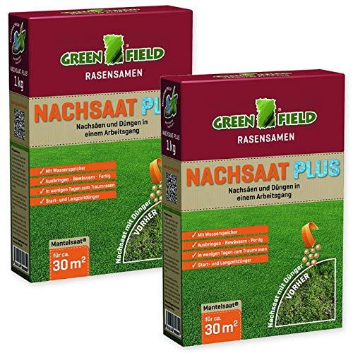 Rasen Nachsaat Plus Mantelsaat Greenfield 2 kg Sparpack für ca. 60 m² + Gratiszugabe 20g Kressesamen Sprint