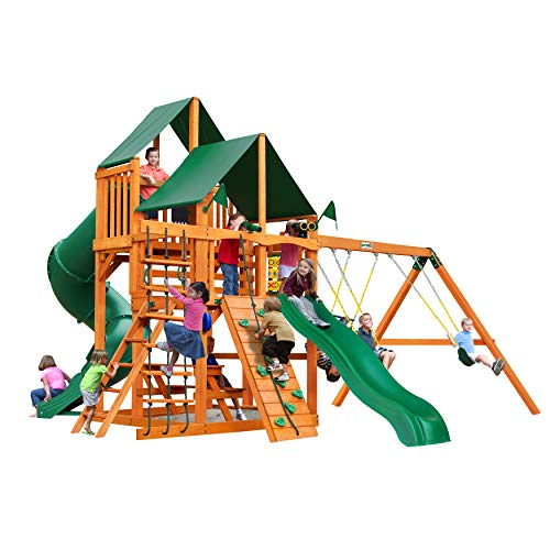 Find Cheap Gorilla Playsets 01-0030-AP-2 Great Skye I Wood Swing Set with Sunbrella Canvas Canopy, R...