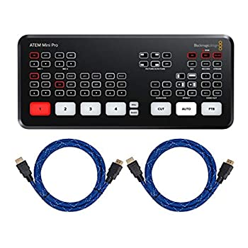 Blackmagic Design ATEM Mini Pro HDMI Live Stream Switcher with 2X Knox Gear Nylon-Braided 4K HDMI to HDMI Cables Bundle  3 Items