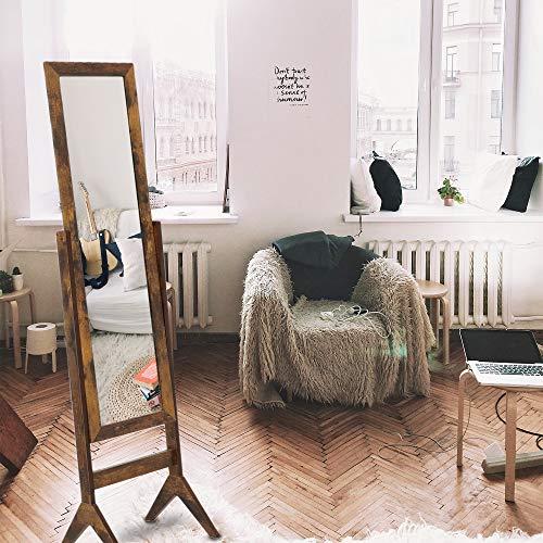 KEDLAN Espejo de suelo Cheval de longitud completa de madera grande espejo rectangular para dormitorio 15,6 x 13,77 cm, color marrón...