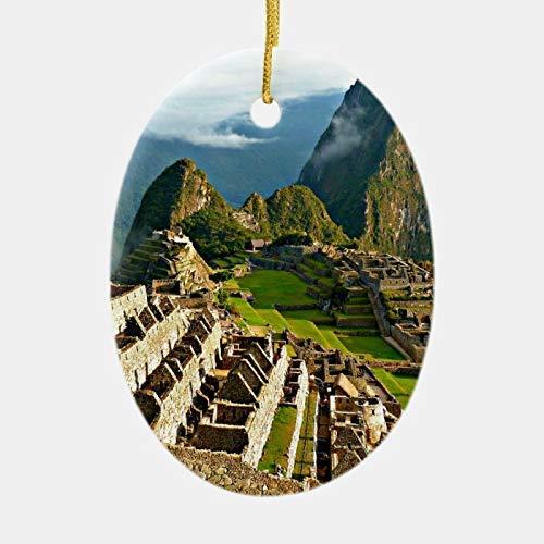 Nobrands Machu Picchu Perú Ornamento de cerámica Decoración de Navidad Bola de Navidad Decoración de árbol de Navidad Navidad Navidad Navidad Navidad Navidad Navidad colgante recuerdo regalo