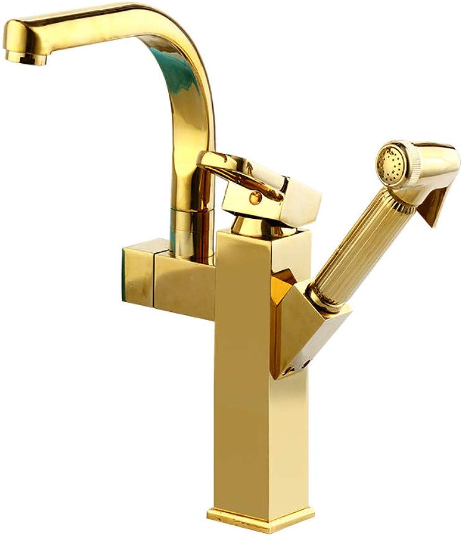 Wasserhahn Ausziehbarer Goldbassinhahn Heier Und Kalter Ganz Aus Kupfer Mit Drehbarer Teleskopvergrerung Der Dusche über Dem Mit Gold überzogenen Becken
