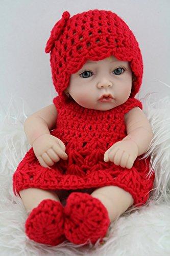 Nicery 11inch Renacido de la Reborn muñeca del silicón Duro Vinilo 28cm Impermeable Chica de Juguete de Regalo Sombrero Vestido Rojo Reborn Baby Reborn Doll