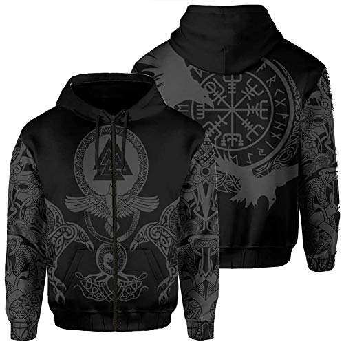 Viking Norse Mythology Zip Up Rune Valknut Fenrir Vegvisir Weatshirt, 3D Printed Odin Tattoo Ravens Totem, Long Sleeve Couple Fashion Autumn Winter Casual Hoodie,Black,4XL