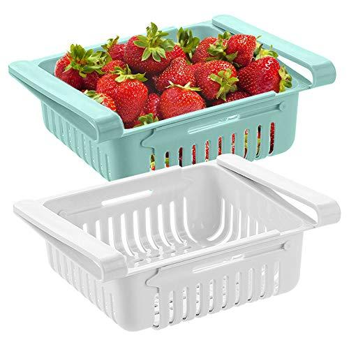 Vaschetta Frigorifero, cassetto per Frigorifero, vaschetta salvaspazio per Frigorifero, Organizer Porta Frutta frigo, ortaggi per conservare Gli Alimenti in Frigorifero (2 Pack)