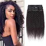 50cm-Extensiones de Clip de Pelo Natural Cabello Trenzado Afro 8 Piezas 18 Clips Double Weft #Negro Natural Grueso Kinky Straight 120g Brazilian Real Human Hair