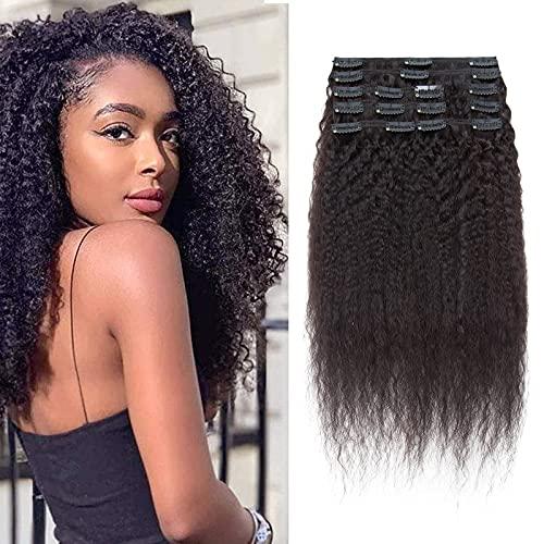 50CM Rajout Cheveux Epais Extension A Clip Cheveux Naturel 8 Piece 18 Clips - Noir Naturel - Afro Kinky Straight Extension Bresilien [Double Weft]