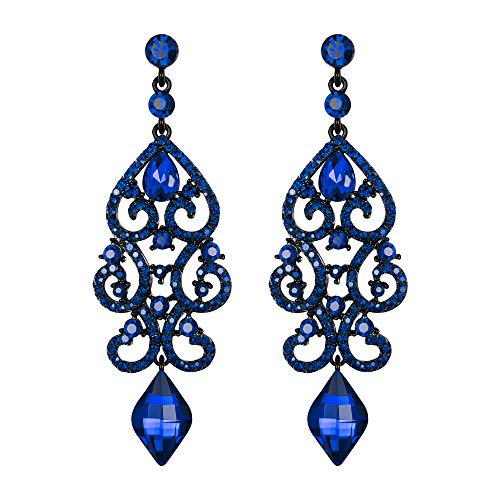 EVER FAITH Mujer Cristal Rhinestone Art Deco Boda Floral Araña Colgante Pendientes Azul Tono Negro