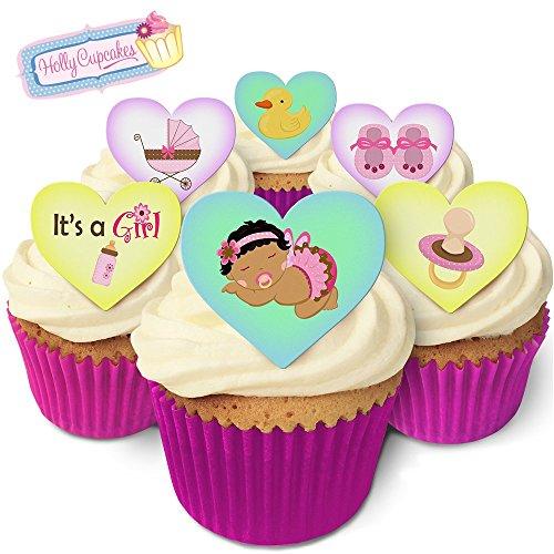 Kuchendekorations-Set für einen schwarzhaarigen Mädchen / Black haired baby girl hearts