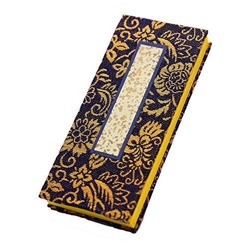 京仏壇はやし 過去帳 並金襴 (紺) 5寸 日付入り 縦 15cm 横 約6cm (セット品 京仏壇はやしクロス)