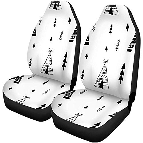 Autostoelhoezen Tipi Tent patroon en Baby Doodle Skizze Hipster Set van 2 autoaccessoires beschermers Car Decor Fit voor auto vrachtwagens