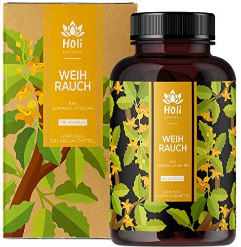 Holi Natural® Premium Weihrauch Extrakt. 85% Boswellia-Säure. 180 Kapseln. Hochdosiert mit 2000mg je Tagesdosis (4 Kapseln). ECHTE Indische Boswellia Serrata. Vegan und ohne Zusätze