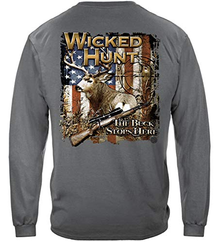Deer Hunting Clothing, 100% Cotton Casual Men's Long Sleeved Shirts, Show Your Love of Deer Hunting with Our Unisex Buck Stops Here Shirt for Men or Women (XX-Large)