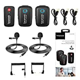 2.4GHz Wireless Microphone System Two Transmitters for Camera Smartphone, Saramonic Ultracompact Dual-channel Mic for DSLR, Mirrorless, Video Cameras, Mobile Devices Youtube Facebook Live