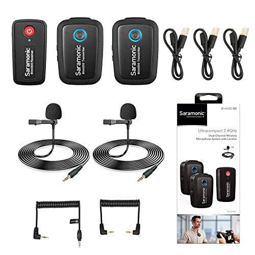Sistema de micrófono inalámbrico de 2.4GHz Dos transmisores para cámara, teléfono inteligente, micrófono ultracompacto Saramonic de doble canal para DSLR, sin espejo, cámaras de video, Youtube Live