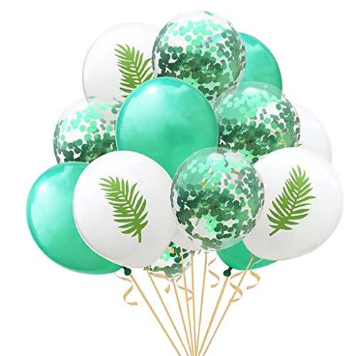 Sharplace Lot de 15pcs Tropical Ballons Latex Confettis Brillant Remplis Décor pour Maison Jardin Chambre Fête Anniversaire Mariage - Feuille Banane -Vert