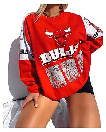 ZHMIAO Bulls Camisetas De Baloncesto para Mujer Camisetade, Camisetade Suelto Sudadera De Baloncesto Jersey Deporte Ropa De Entrenamiento Red-XL