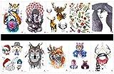 tatuajes temporales en un solo paquete, diseños mixtos como señora, perro, gato, conejo, tigre, elefante, ciervo, flores, hojas,