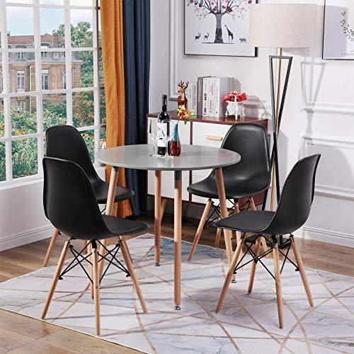 H.J WeDoo Esszimmergruppe mit Esstisch und 4 Essstühlen, Tischplatte aus MDF für Wohnzimmer Küche