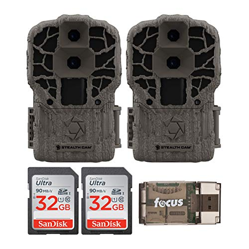 Stealth Cam DS4K Max 32MP Trail Camera (2-Pack) with 32GB SD Cards and Reader Bundle (5 Items)