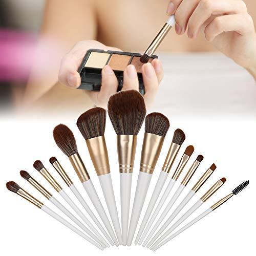Pinceaux de maquillage en bois, 14pcs avec poignée en bois haut de gamme, tube en aluminium de qualité, cheveux en nylon