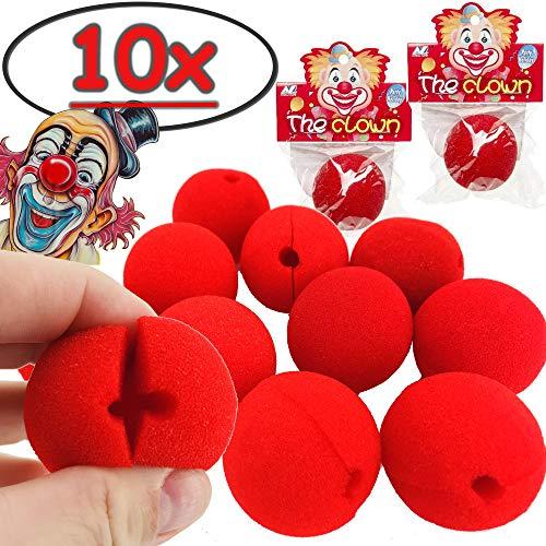 Carpeta® - ★ 10 x rote Clown Nasen ★ zum leichten Aufstecken ┃ für Kinder und Erwachsene ┃ Spiel und Mitgebsel für Kindergeburtstag ┃ Clownsnasen für Fasching & Karneval