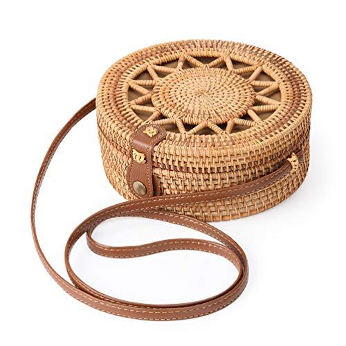 potente para casa Enmain Bolso redondo tejido de ratán Bolso de paja para mujer Bolso de hombro de playa bohemia …