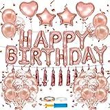 誕生日 飾り付け 風船、Happy Birthday バルーン、パーティー 装飾 風船、バースデー 飾り バルーン プレゼント 人気 バルーン誕生日装飾セット (桜ピンク)