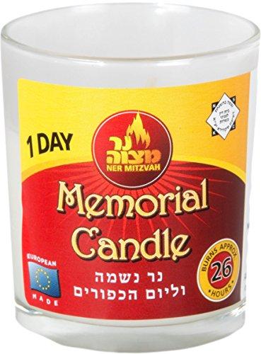 1 Day Yartzeit Candle - 1 Pack - 24 Hour Kosher Yahrtzeit Memorial and Yom Kippur Candle in Glass Jar