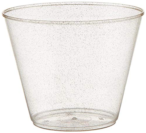 200 count Gold Glitter 9 oz Party Cups Old Fashioned Tumblers by Oojami
