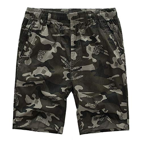 NEEKY Men Shorts Camouflage Männer Casual Pure Color Freien Tasche Strand Arbeitshose Cargo Shorts Hosen Herren Bade Shorts All Day(XL,Hellgrün)