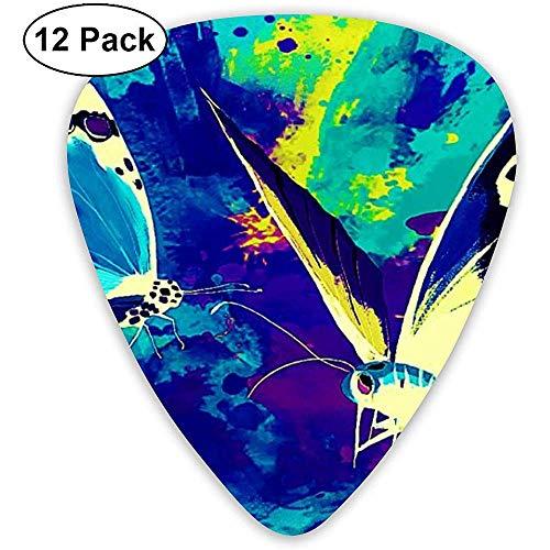 Beautiful Butterfly Art Plektren 12 Ukulelen-Plektren, einschließlich 0,46 mm, 0,71 mm, 0,96 mm Akustikgitarre