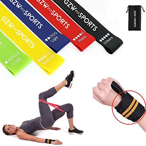 GZW-Shop Bandas de Resistencia Gomas Elásticas Fuerza Entrenamiento de piernas y glúteos Fitness musculación Cintas para Pilates Yoga, Ballet, Gimnasio y Ejercicio en casa