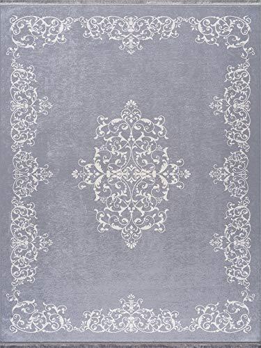 Siela Waschbarer Teppich Für Wohnzimmer, Küche Teppich Läufer Flur, Deko Modern, Teppiche Für Schlafzimmer, Esszimmer rutschfest Waschmaschine Küchen (Grau-1706, 160x230)