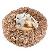 UKMASTER Cama de Felpa para Perros Cama Redonda para Mascotas Cama Donut de Felpa para Perros y Gatos Antideslizante con Cojín Lavable Color Marrón, M (60x26cm)