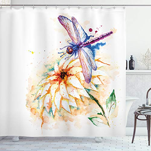 """Ambesonne Dragonfly Shower Curtain, Watercolor Lily Flower and Flying Bug Over It Nature Spring Theme Print, Cloth Fabric Bathroom Decor Set with Hooks, 84"""" Long Extra, White Purple"""